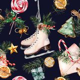 Watercolor Christmas pattern with skates. Hand painted envelope, white scates, bells, candy cane, cookies, gifts, pine royalty free illustration