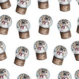 Watercolor Christmas pattern of Snow Globe with snowman. Design for textile,wrapping paper, scrapbooking, etc. vector illustration