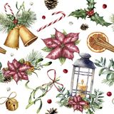 Watercolor Christmas pattern with traditional decor. Hand painted lantern, snowberry, bells, candle, mistletoe, cinnamon. Poinsettia and holly isolated on Stock Images
