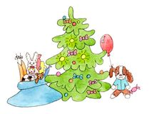 New year tree and gifts: children toys. Watercolor christmas postcard on white background: new year tree and Santa`s bag with gifts: soft children toys, doll Royalty Free Stock Images