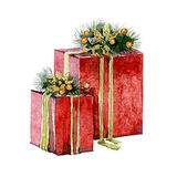 Watercolor Christmas presents. On a white background Stock Image