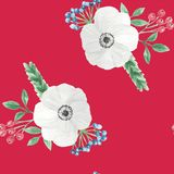 Watercolor Christmas Red Leaves Flowers Berries Festive Seamless Pattern Repeat Stock Images
