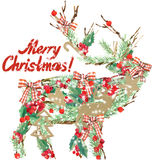 Watercolor Christmas reindeer. Wish Merry Christmas text. Royalty Free Stock Photos