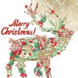 Watercolor Christmas reindeer. Wish Merry Christmas text. Stock Photography