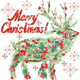 Watercolor Christmas reindeer. Wish Merry Christmas text. Stock Images