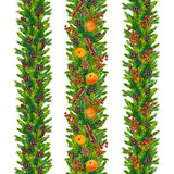 Watercolor christmas seamless borders of fir branches, cones, red berry Stock Photography