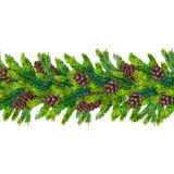 Watercolor christmas seamless borders of fir branches and pinecones Royalty Free Stock Photo