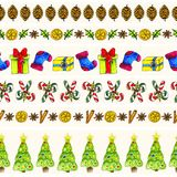 Watercolor christmas seamless pattern borders set Stock Photography