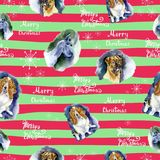 Watercolor Christmas seamless pattern with dogs pattern. Hand drawn illustrations of dogs on a striped background with. SnowflakesLettering Merry Christmas stock illustration