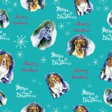 Watercolor Christmas seamless pattern with dogs pattern. Hand drawn illustrations of dogs on a blue background with. SnowflakesLettering Merry Christmas vector illustration