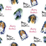Watercolor Christmas seamless pattern with dogs pattern. Hand drawn illustrations. Watercolor Christmas seamless pattern with dogs pattern. Hand drawn stock illustration