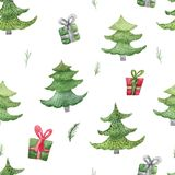 Watercolor christmas seamless pattern with fir trees and gifts. New Year decoration for invitation, cards.  Stock Photos