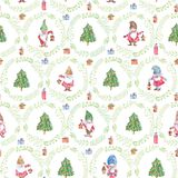 Watercolor Christmas seamless pattern with gnomes, Christmas trees and wreaths on white background stock image