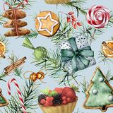 Watercolor Christmas seamless pattern with holiday pastry. Hand painted cookies, candies, cake with berries and fruits vector illustration