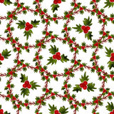 Watercolor Christmas seamless pattern with mistletoe. Can be used for wrapping and fabric design Stock Photos