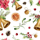 Watercolor christmas seamless pattern. New year tree ornament with bell, holly, mistletoe, poinsettia, orange slice Royalty Free Stock Image