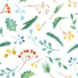 Watercolor Christmas seamless pattern with plants. Texture with fir branches, holly, berries, pine, leaves. stock illustration