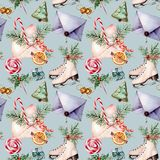 Watercolor Christmas seamless pattern with skates. Hand painted envelopes, cookies, spices with fir branches and decor stock illustration