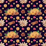 Watercolor Christmas seamless pattern with spices vector illustration