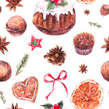 Watercolor Christmas seamless pattern with traditional pudding Royalty Free Stock Photo