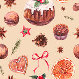 Watercolor Christmas seamless pattern with traditional pudding Stock Images