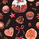Watercolor Christmas seamless pattern with traditional pudding Stock Photography