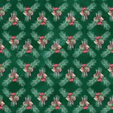 Watercolor Christmas seamless patterns, backgrounds stock photos