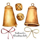Watercolor Christmas set with bells and bow. Hand painted holiday decor isolated on white background. Christmas clip art Stock Photo