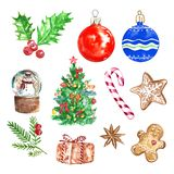 Watercolor Christmas set collection with symbols of winter holidays, on white background. Hand painted christmas vector illustration