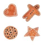 Watercolor Christmas set of cookies with gingerbread man, star, heart, a circle on white background. stock illustration