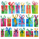 Watercolor Christmas set with gift boxes and bows,  on white background. Watercolor art. Decoration elements.Hand paining Stock Image