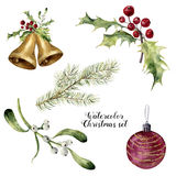 Watercolor christmas set. Hand painted collection with bells, mistletoe, holly, fir branch and christmas ball isolated