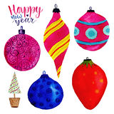 Watercolor Christmas set with holiday decorations. Balls for New year tree Royalty Free Stock Photography