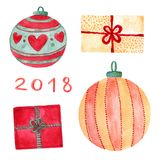 Watercolor Christmas set with holiday decorations. New year balls and gifts prints. Watercolor Christmas set with holiday decorations. New year balls and gifts Stock Image