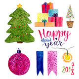 Watercolor Christmas set with holiday decorations. New year tree, gifts and other decor Stock Photo