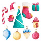 Watercolor christmas set. New year ornament with bow, candy, sock, moon, star, mitten. For design, print or background. Watercolor christmas set. New year vector illustration