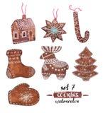 Watercolor Christmas set of seven gingerbread. vector illustration