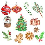 Christmas set with symbols of winter holidays, watercolor illustration on white royalty free illustration