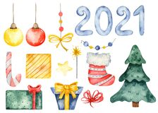 Watercolor Christmas set 2021, with Christmas tree, Christmas toys, gifts, decorations
