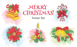 Watercolor Christmas set Stock Images