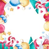 Watercolor christmas square frame. New year ornament with bow, candy, sock, moon, star, mitten. For design, print or background. Watercolor christmas square royalty free illustration