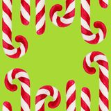 Watercolor christmas square frame. New year ornament with candy cane. For design, print or background.  vector illustration