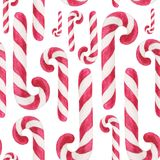 Watercolor christmas square pattern. New year ornament with candy cane. For design, print or background.  royalty free illustration