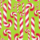 Watercolor christmas square pattern. New year ornament with candy cane. For design, print or background.  stock illustration