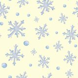 Watercolor christmas square pattern. New year ornament with snow and snowflake. For design, print or background.  vector illustration