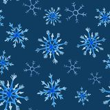 Watercolor christmas square pattern. New year ornament with snow and snowflake. For design, print or background.  stock illustration