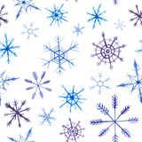 Watercolor christmas square pattern. New year ornament with snow and snowflake. For design, print or background.  royalty free illustration