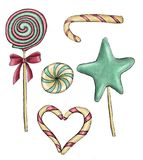 Christmas sweets watercolor candy lollipop Stock Image