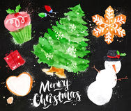 Watercolor Christmas symbols chalk Royalty Free Stock Photo