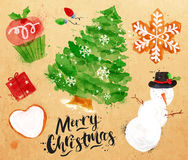 Watercolor Christmas symbols kraft Royalty Free Stock Images